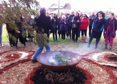 No. 2 of 3 Creative Conversations with Regional Arts Victoria - Welcome to Country - Ian Hunter Wurrundjeri Elder Photographed by Karen Robinson - Abstract Artist www.idoartkarenrobinson.com 10th July 2015.JPG