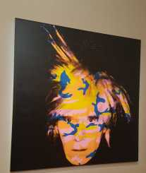 No. 1 of 3 Andy Warhol Self-Portrait 1986 Synthetic Polymer Paint and Silkscreen Ink on Linen. Photo taking at National Gallery of Victoria 23.4.16 by Karen Robinson