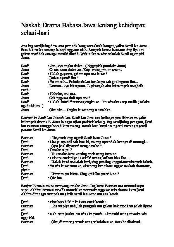 Drama Bahasa Jawa 5 Orang : drama, bahasa, orang, Contoh, Naskah, Drama, Bahasa, Orang, Surat