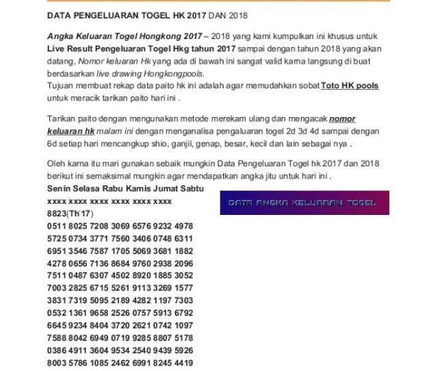 Kodesyair Com Data Pengeluaran Togel Hk  Demqdywdn