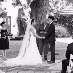 Austin officiant with bride and groom at Barr Mansion