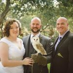 Bride groom officiant and owl