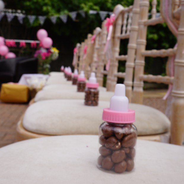 Baby bottle favours filled with chocolates