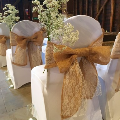 Hessian and lace chair tie - £1.50 each