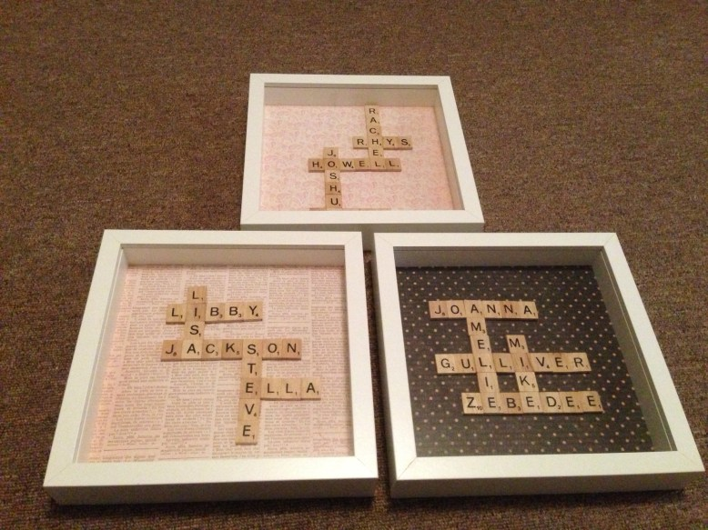 gift idea for families personalised box frame with scrabble letters