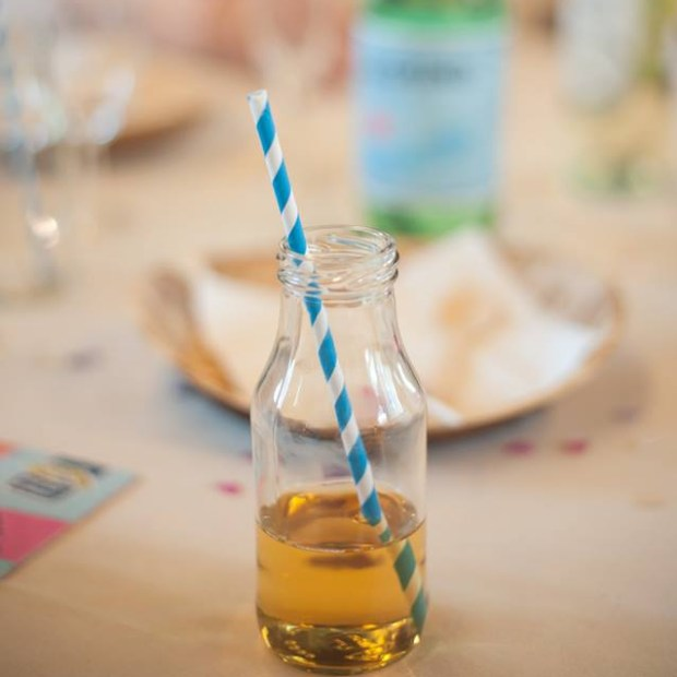 milk bottle with retro straw