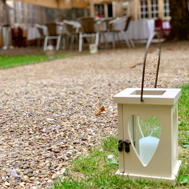 Lantern with heart shaped glass doors