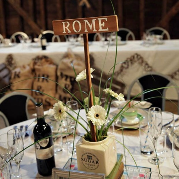 Personalised table name signpost