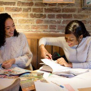 Ladies crafting at a craft workshop