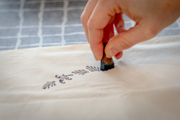 Block printing pattern onto drawstring bag