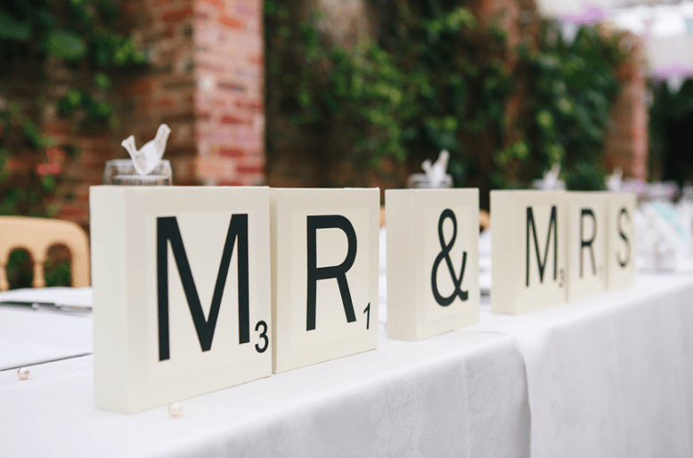 mr and mrs signage for wedding