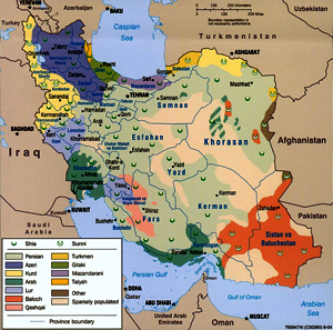 map of Iranian ethnicities and sects