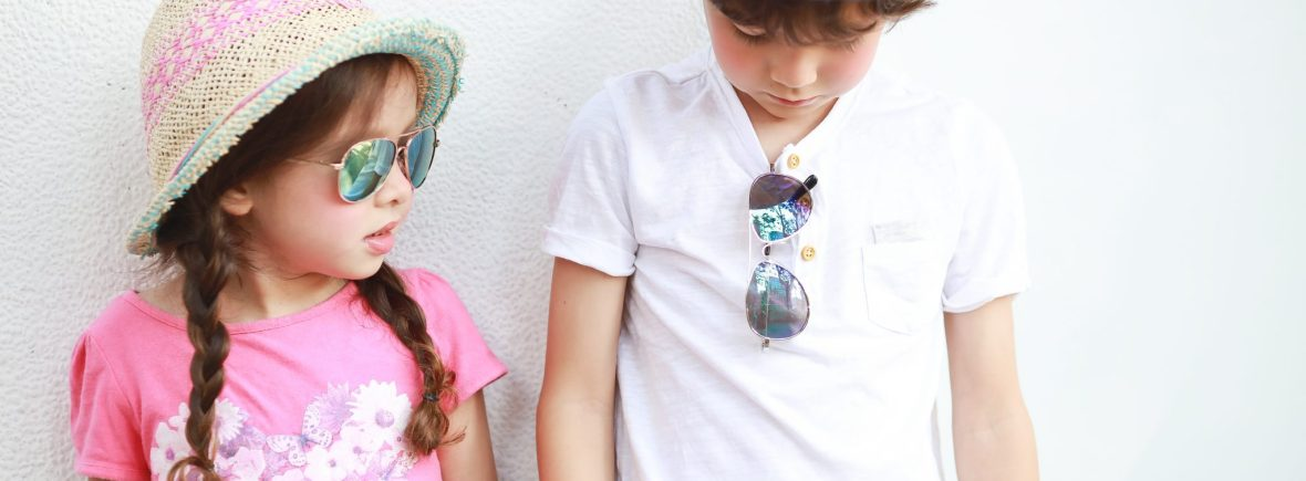 Boy and girl wearing IE68038 metal aviator sunglasses