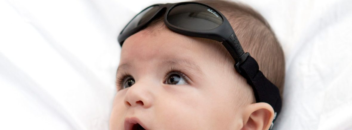 Baby wearing Baby Wrapz 2 convertible baby sunglasss