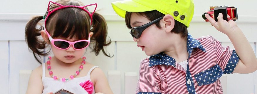 Baby Wrapz 2 - Girl and Boy wearing Baby Wrapz 2 convertible baby sunglasses