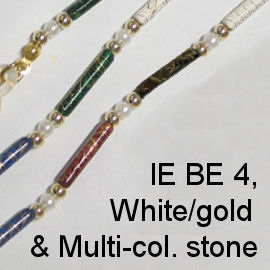 IE BE 4 - White Pearl & Gold Bead & Multi-coloured Stone chain