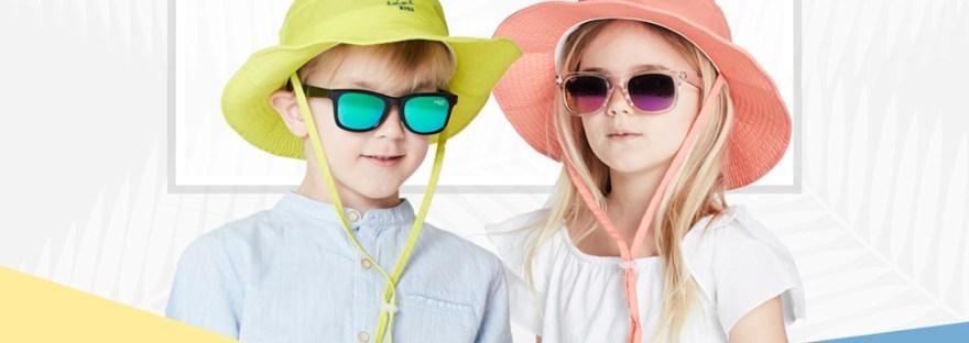 Boy and girl wearing Idol Eyes Australia sunglasses and sun hat
