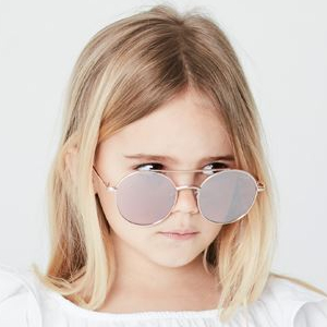 Looking cool in Kids I - IE69185, Gold oval sunglasses