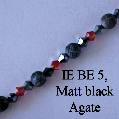 IE BE 5, Matt black Agate spectacle chain