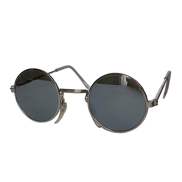 IE 059 Silver mirror, Classic metal round sunglasses