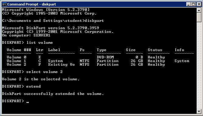 Select Volume and Extend with Diskpart