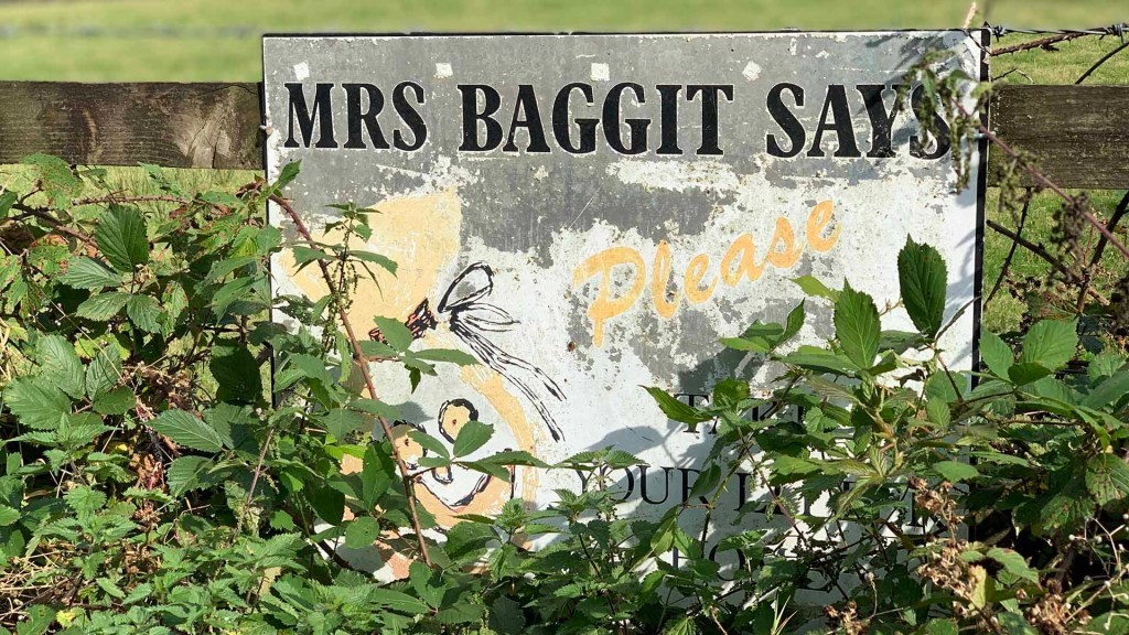Mrs Baggit sign in Devon