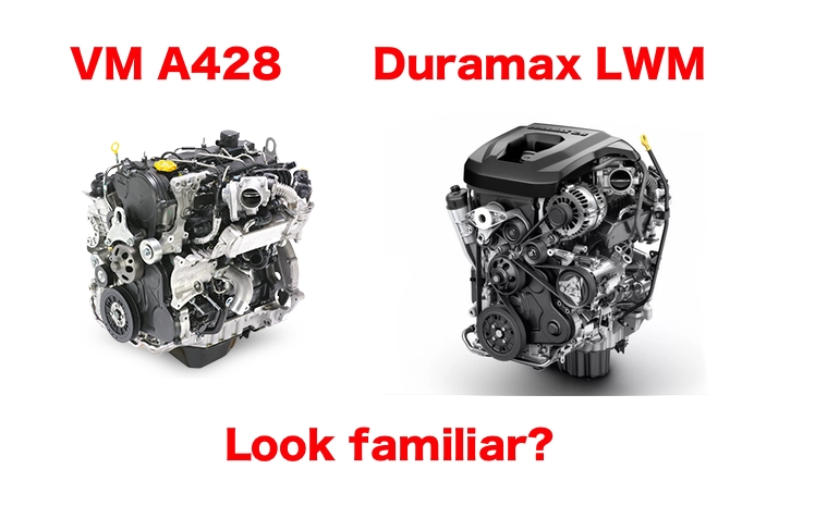 Yes, the 2 8L Duramax is a cousin of the Jeep CRD 2 8L from VM