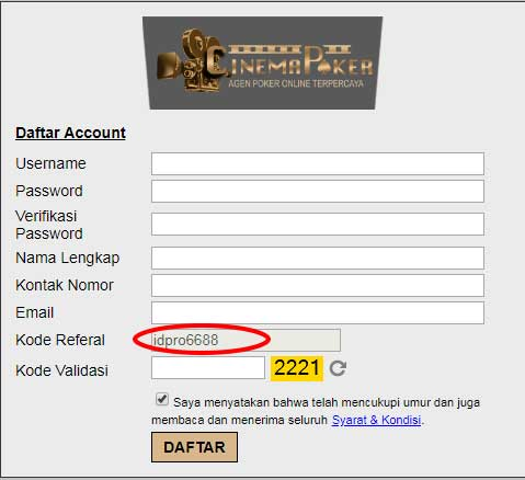 Form Daftar Cinemapoker - Cara Daftar ID Pro Aktif di Website Terpercaya