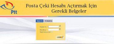posta çeki hesabı açtırmak için gerekli belgeler