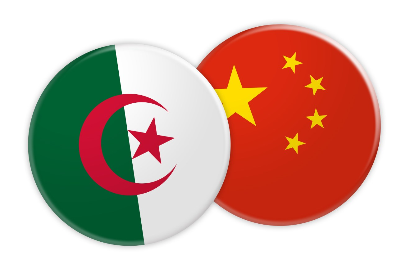 News Concept: Algeria Flag Button On China Flag Button, 3d illustration on white background