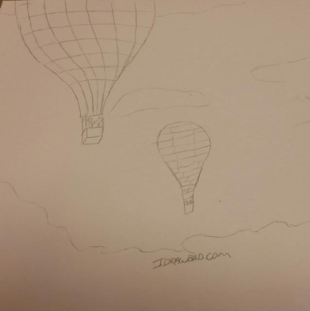 Pencil Drawing of I Draw Bad Daily Sketch: hot air balloons