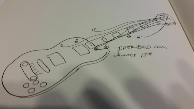 Ink Drawing of I Draw Bad Daily Sketch: Guitar