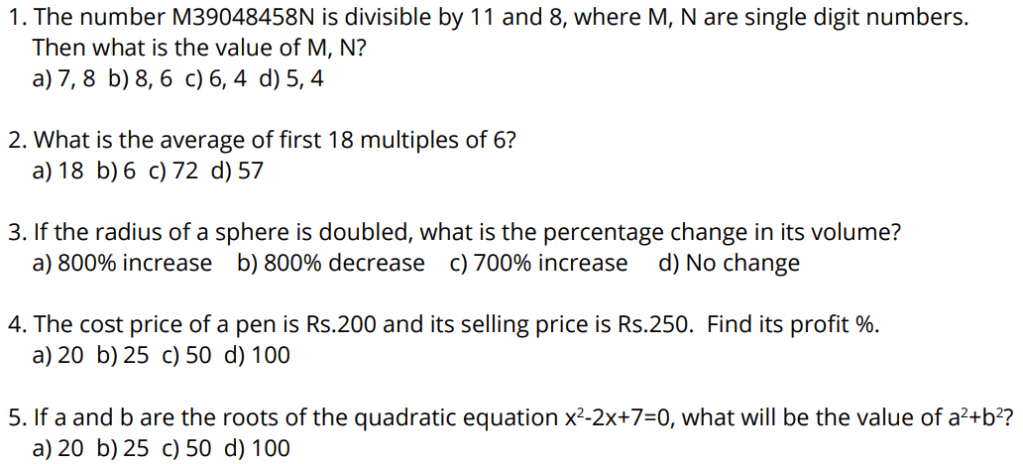 Figure: SRMJEEE exam 2020 Sample Questions for Apitude
