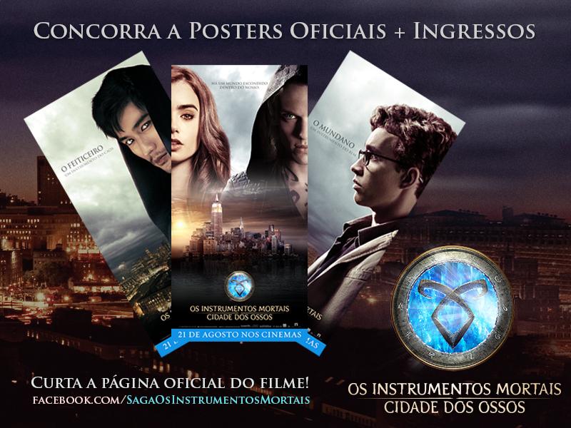 """Promoção Ingressos + Pôsteres oficiais do filme """"Os Instrumentos Mortais: Cidade dos Ossos"""""""