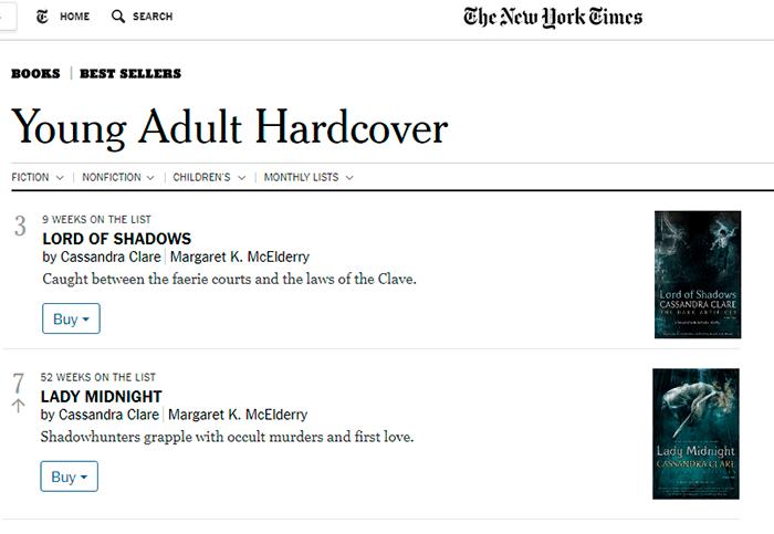 """""""Dama da meia-noite"""" e """"Senhor das Sombras"""" na lista de mais vendidos do New York Times!"""