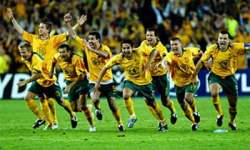 The Australian national association football team Socceroos after its victory in the FIFA World Cup qualifier against Uruguay in Sydney November 16, 2005, under Australian born coach Frank Farina.