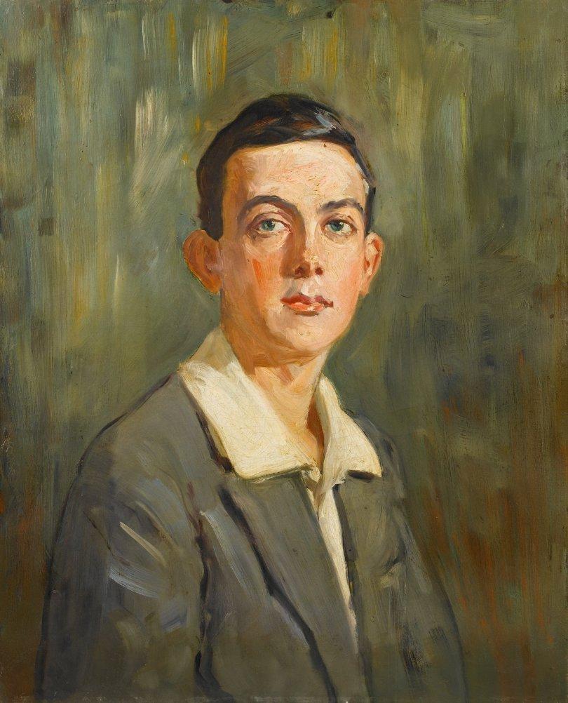 """Portrait of a Young Man,"" Mihri Müşfik Hanım, oil on canvas, 62.5 by 50.5 centimeters. (Courtesy of SSM)"