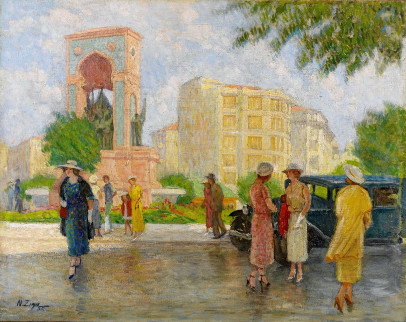 'Taksim Square,' Nazmi Ziya Güran, oil on canvas, 73.5 by 92 centimeters. (Courtesy of SSM)