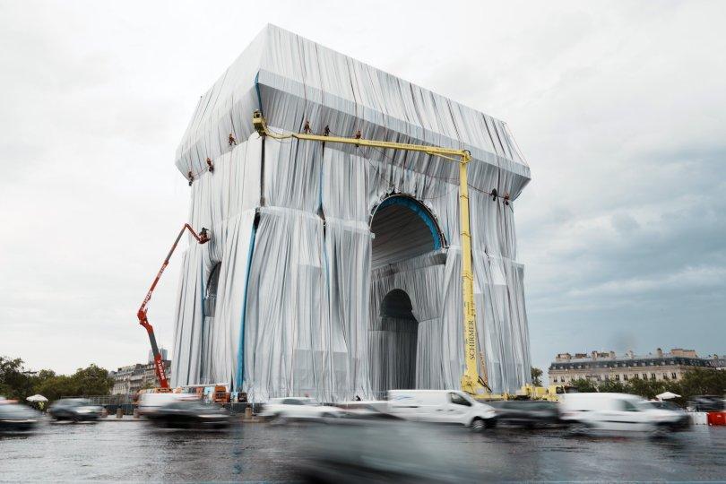 General view of the wrapped Arc de Triomphe, Paris, France, Sept. 14, 2021. (AP Photo)