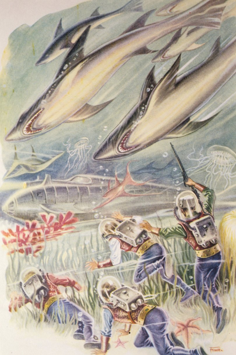 An illustration for 'Twenty Thousand Leagues Under The Se' by Jules Verne. (Getty Images)