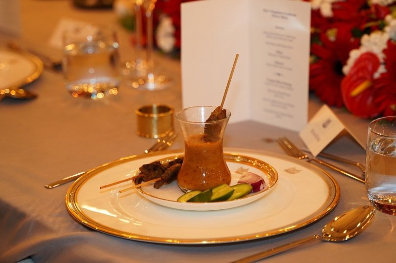 Beef Satay served to the guests at the ambassador's residence in Ankara, Sept.18, 2021 (Courtesy of the embassy)