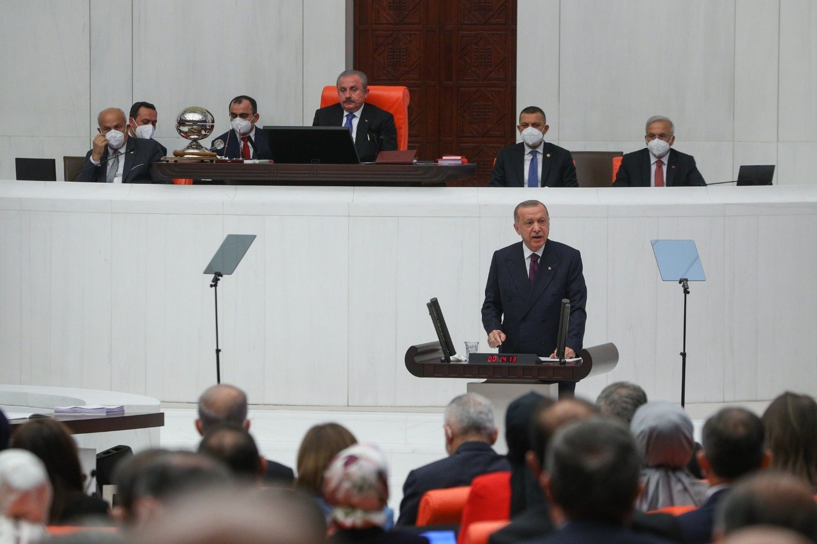 President Recep Tayyip Erdoğan made the opening speech at Parliament on the opening of the fifth legislative year of its 27th term of the Turkish Grand National Assembly (TBMM) in Ankara, Turkey, Oct. 1, 2021. (DHA Photo)