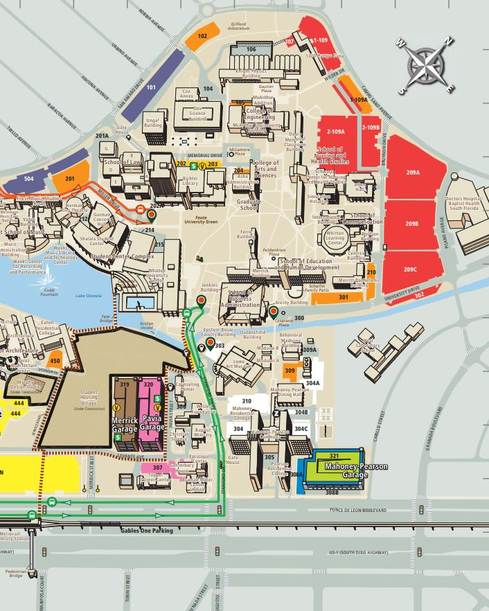University of Miami parking map red lots