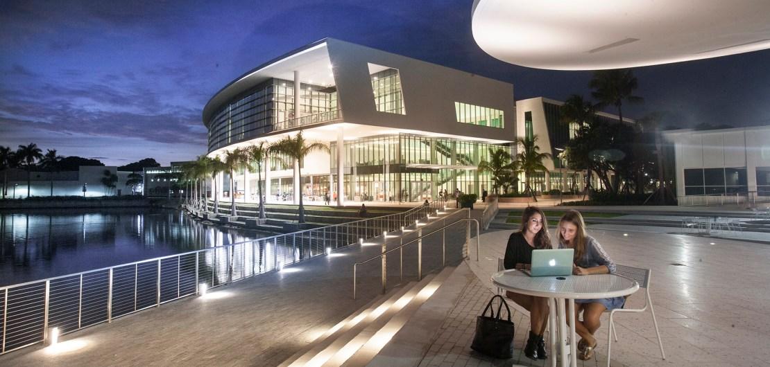 University of Miami Coral Gables campus at night Shalala Student Center on Lake Osceola