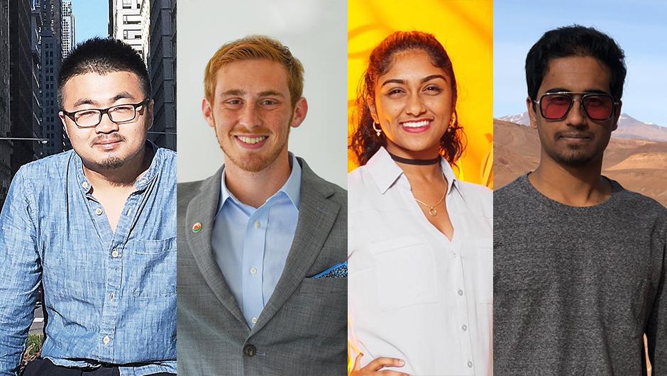 2019-2020 IDSC Fellows Jia Geng, Mario Bonacolta, Chitra Banarjee, Karna Nagalla