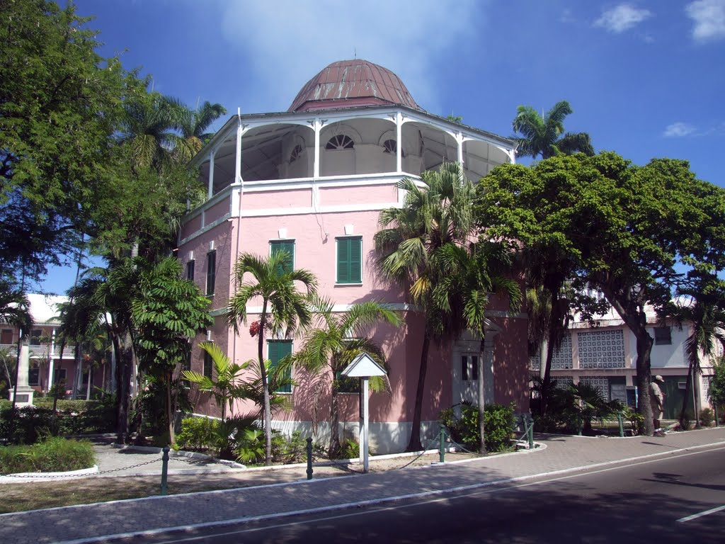 The beautiful, historic, octagonal Public Library building in Nassau, New Providence, Bahamas