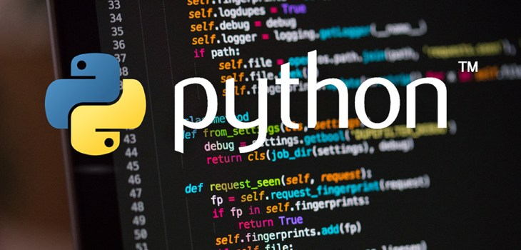 Python logo with programming language in the background
