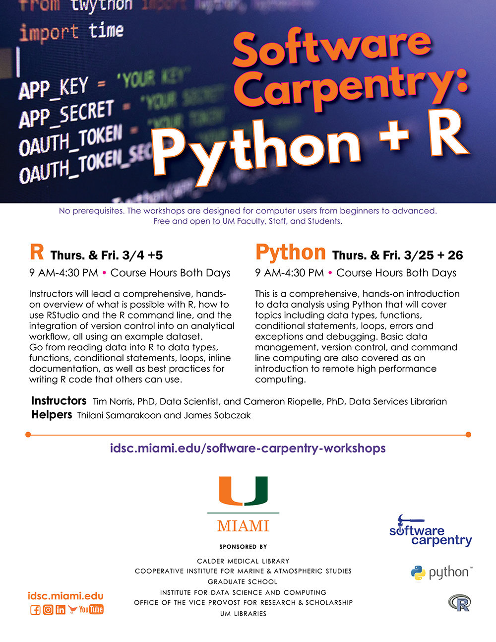 University of Miami Institute for Data Science and Computing Software Carpentry R Workshop FLYER
