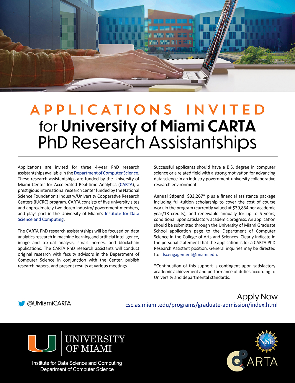 University of Miami Center for Accelerated Real Time Analytics PhD Research Assistantships FLYER