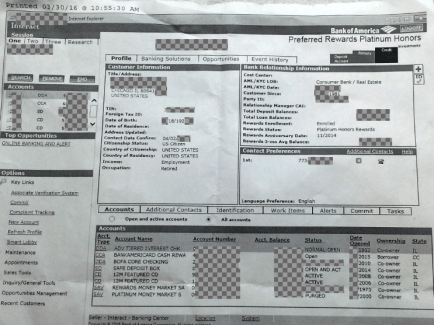 CHICAGO - Accounts compromised - security breach. Bank of America exec Mario Elizondo Valenzuela tossed the entire details of accounts he accessed and printed, into the trash [NOT BankofAm's trash] this week after being FIRED for hijacking money from BOA accounts. Above image is from a 90-year-old Chicago senior's entire six-figure nestegg and all the information for their 8 accounts. Associates of IDTheftReports2020.com informed law enforcement agencies about Valenzuela's long list of fraudulent activities. 2016 All rights reserved. IDTheftReport2020.com